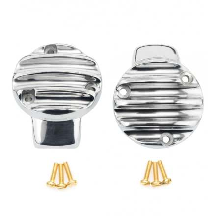TPS Carb/Throttle Body Cover - Pair - Ribbed/Finned - Polished